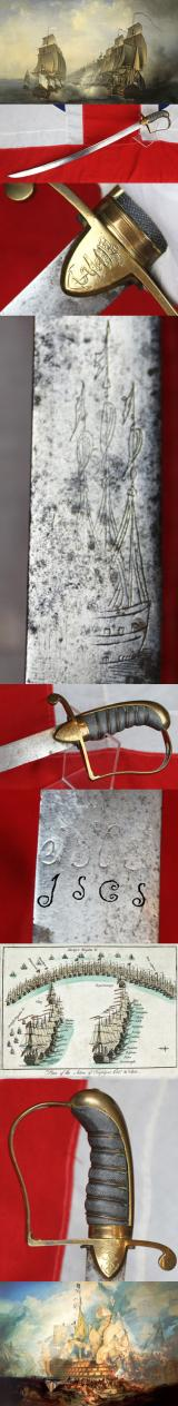 A Superb Royal Naval Officer's Fighting Sword/Cutlass Circa 1790's Monogrammed For A Junior Officer, Apparently Wounded at Trafalgar